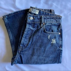 FREE PEOPLE DISTRESSED BUTTON FLY JEANS